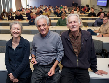 Nobel Laureate Albert Fert (center) is working with physicists Claire Berger and Walt de Heer (left to right) - JPEG