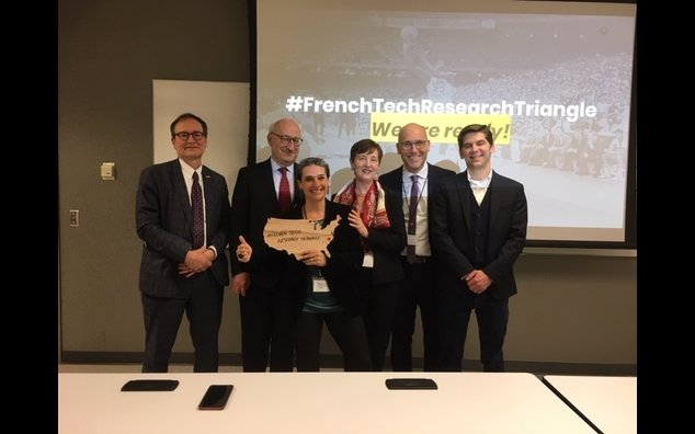 Ambassador Philippe Etienne, Consul General Vincent Hommeril, Claire-Juliette Beale and the founding members of La French Tech Raleigh - Research Triangle (February 2020)